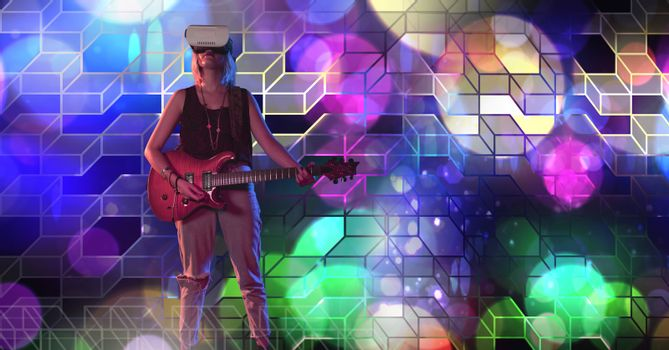 Musician woman playing guitar with geometric party lights venue atmosphere wearing virtual reality h