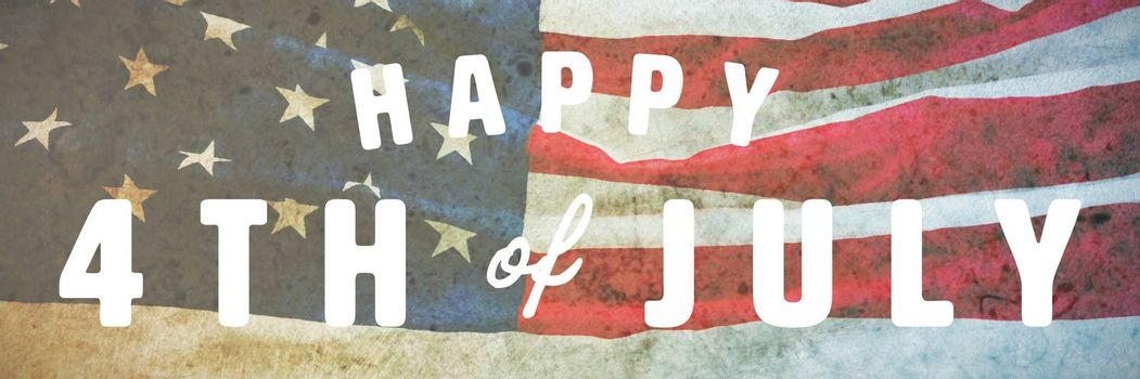 Digitally generated image of happy 4th of july text against american flag on a brown table