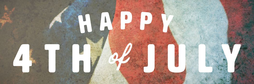 Digitally generated image of happy 4th of july text against crumbled american flag