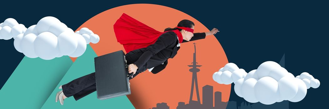 Composite image of businesswoman with cape flying with illustrated background