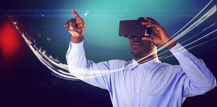 Man standing while wearing virtual reality simulator