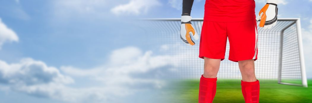 Soccer goalkeeper in goal with transition