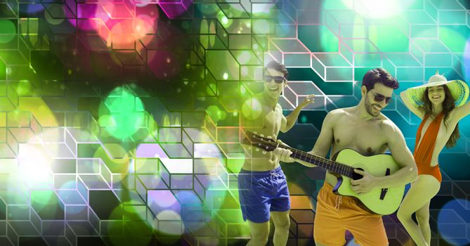 Fun Summer friends playing guitar with geometric party lights venue atmosphere