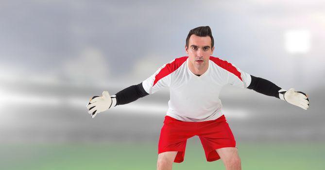Soccer goalkeeper in stadium