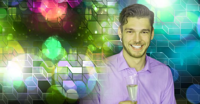 Fun man drinking alcohol with geometric party lights venue atmosphere