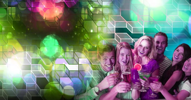 Fun friends drinking cocktails with geometric party lights venue atmosphere