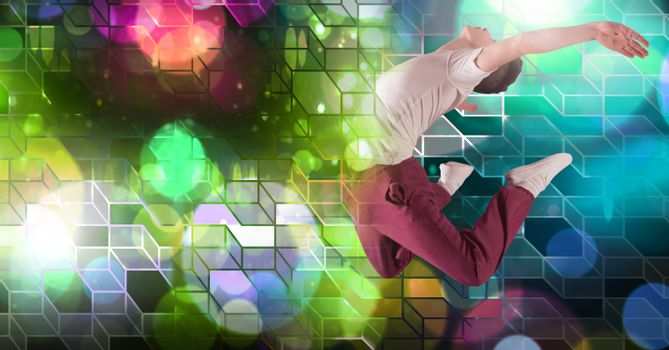 Dancer man expressing body with geometric party lights venue atmosphere