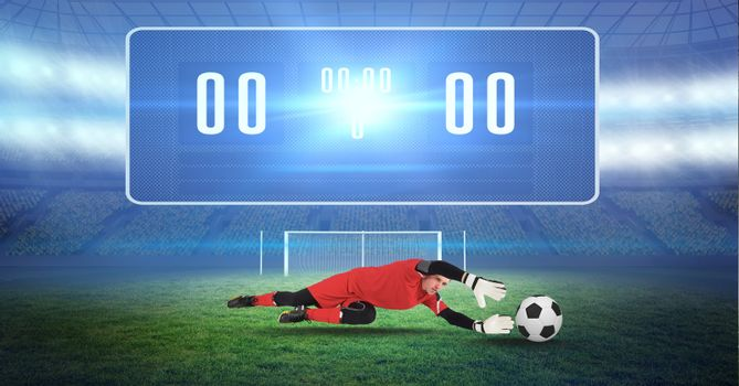 Composite image of soccer goalkeeper and ball and digital score