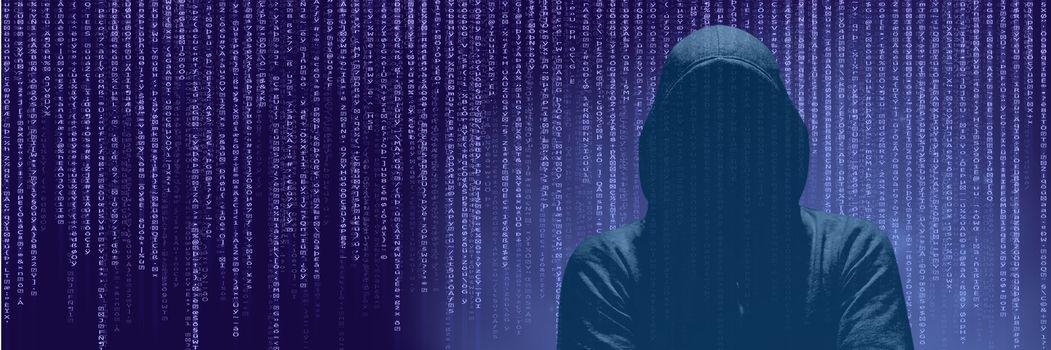 Anonymous Hacker On Purple Background