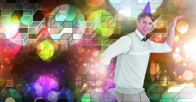 Fun party man dancing with geometric party lights venue atmosphere