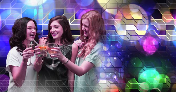 Fun women drinking cocktails with geometric party lights venue atmosphere