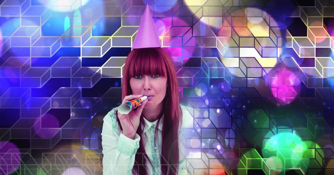Fun party woman with geometric party lights venue atmosphere