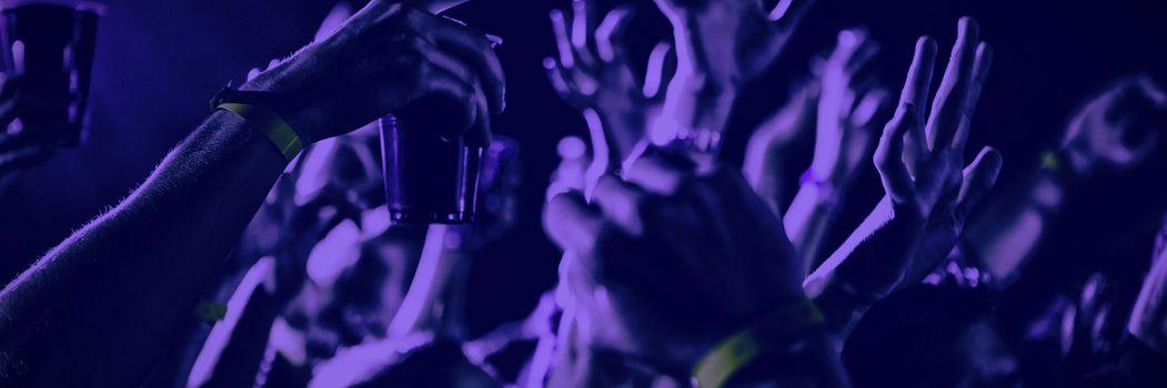 People enjoying while dancing at concert in nightclub