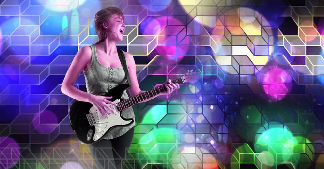 Musician woman playing guitar with geometric party lights venue atmosphere