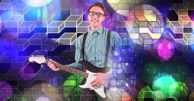 Musician man playing guitar with geometric party lights venue atmosphere