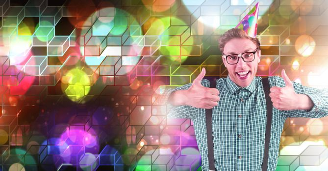 Fun party man with geometric party lights venue atmosphere
