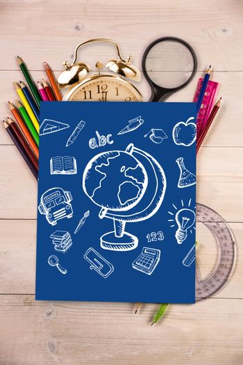 Education doodles against students desk with blue page