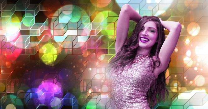 Fun woman dancing with geometric party lights venue atmosphere