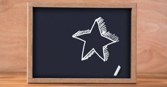 Digital composite of Star Education drawing on blackboard