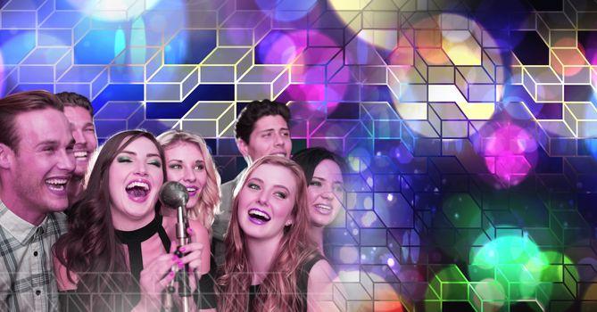 Friends singing karaoke with geometric party lights venue atmosphere