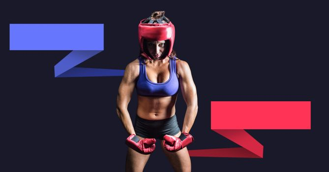 Female boxer with blank infographic chart panels