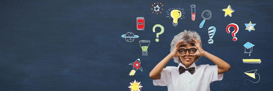 Digital composite of School boy and Education drawing on blackboard for school