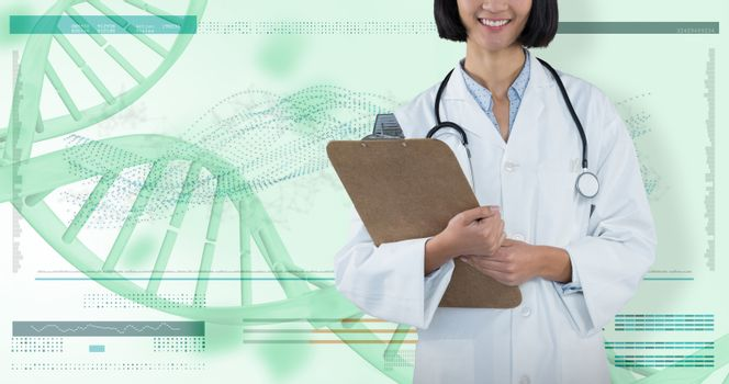 Composite image of doctor holding clipboard against grey background