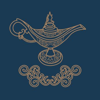 Contour antique aladdin lamp with filigree tracery on dark blue background