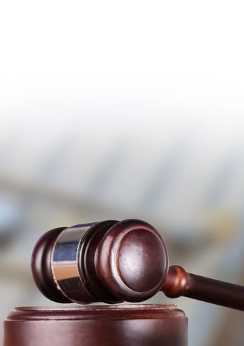 Gavel with blurry background
