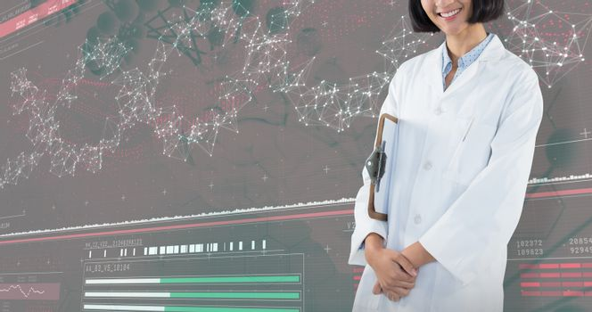 Composite image of doctor holding clipboard against white background