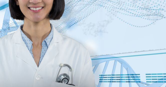 Composite image of doctor standing against grey background
