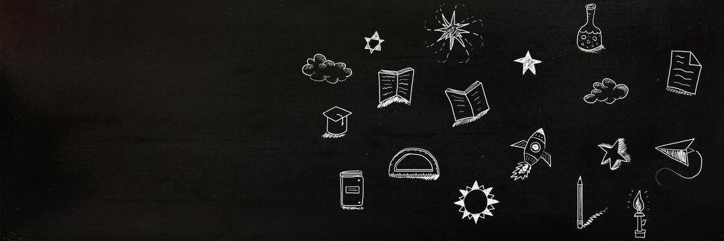 Digital composite of Education drawing on blackboard for school