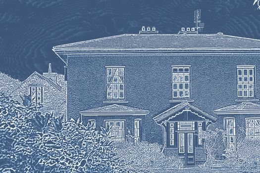Pretty house with a blue and white filter