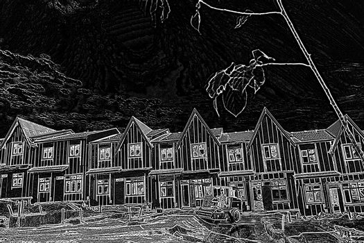Nice residence with a black and white filter