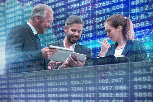 Colleagues discussing  over technology against white background against stocks and shares
