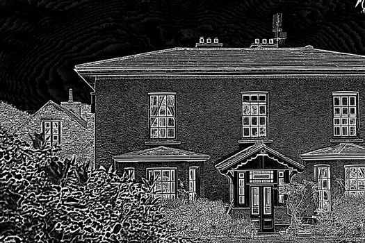 Pretty house with a black and white filter