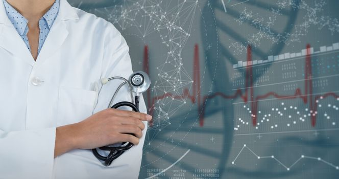 Composite image of doctor holding stethoscope against grey background