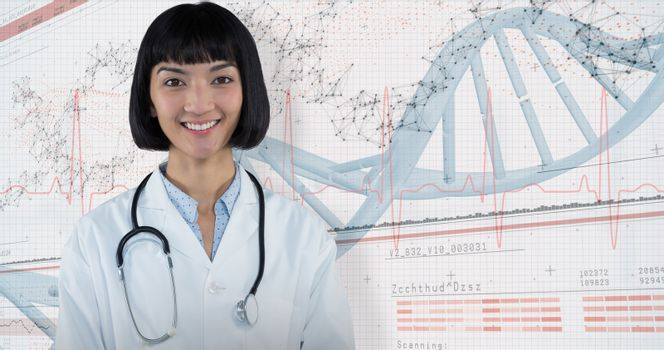 Composite image of confident doctor standing against grey background