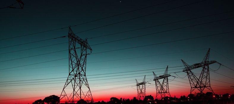 The evening electricity pylon silhouette