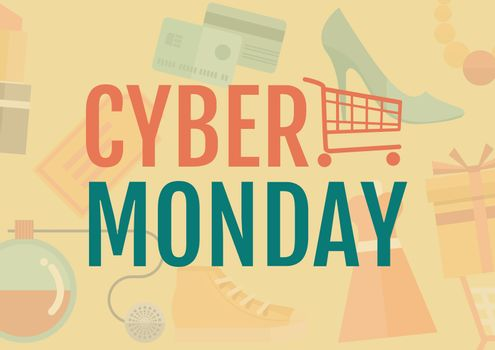 Cyber Monday Sale with illustrated elements in orange and green