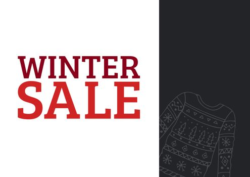 Winter Sale Text in red and illustrated pullover on dark grey rectangle