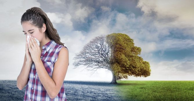 Digital composite of Autumn and Winter seasonal weather transition and sick woman with flu