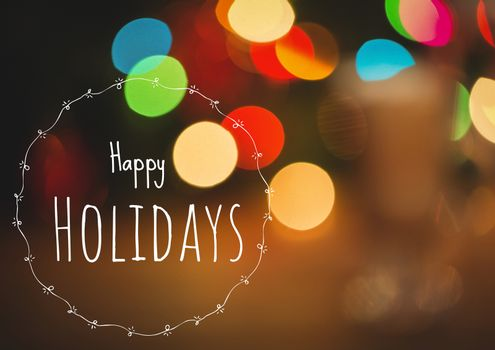 Happy holidays text with magical lights