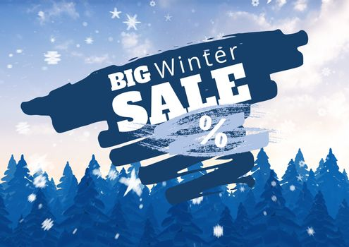 Winter Sale illustrated with firs and snowflakes in blue and white