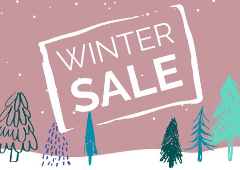 Winter Sale Illustrated Style with green firs and light pink background