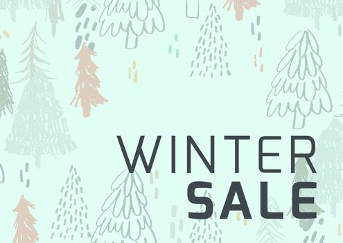 Winter Sale Illustrated Style with firs and green background