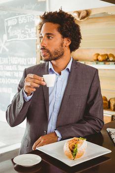 Businessman enjoying his lunch hour