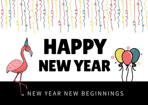 Happy New Year Illustrated elements like streamers, flamingo and balloons