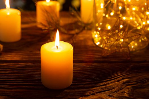 warm candles and ornament