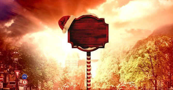 Christmas wood sign and sun light